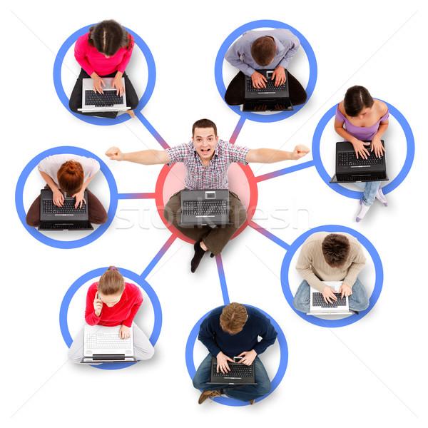 Social network in giro uno di successo uomo seduta Foto d'archivio © icefront
