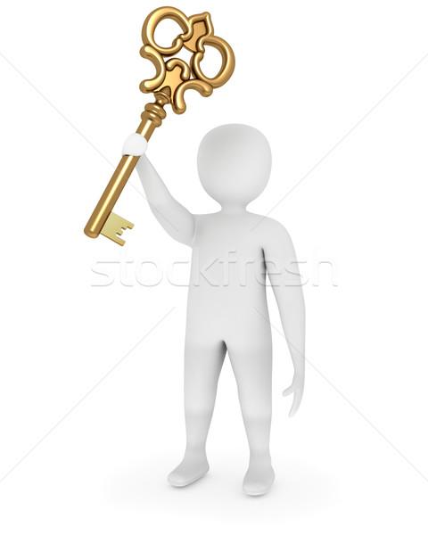 Foto stock: Hombre · 3d · dorado · clave · solución