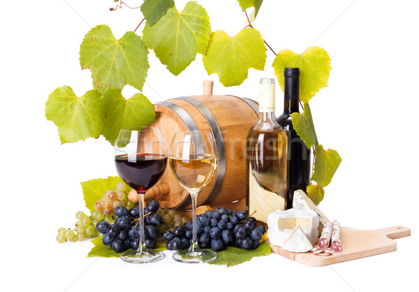 Red and white wine in glasses Stock photo © icefront