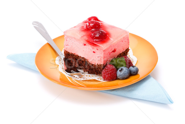 Raspberry yoghurt cake garnished with berries Stock photo © icefront