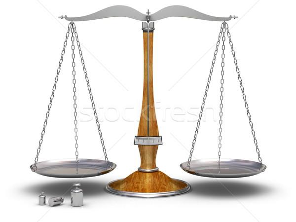Mérleg öreg súlyok magas döntés igazság Stock fotó © icefront