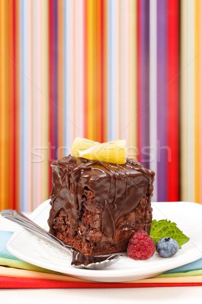 Kek çikolata cila plaka karpuzu renkli Stok fotoğraf © icefront
