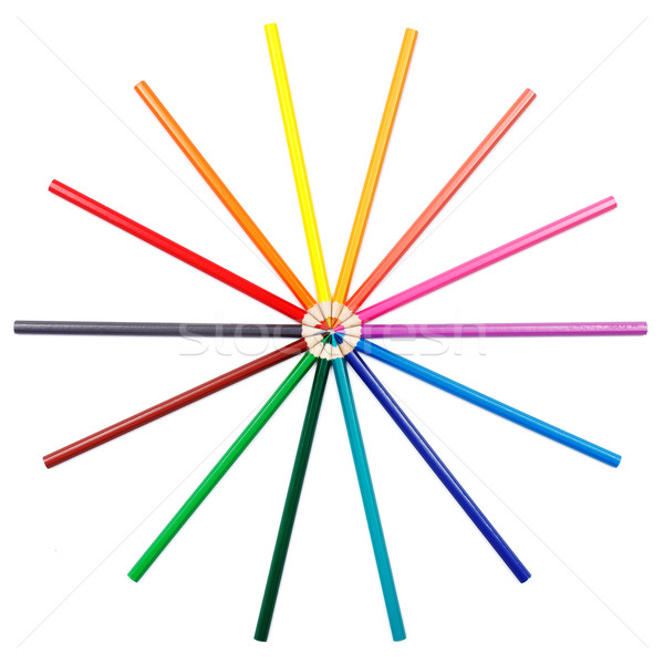Kleurrijk potloden arrangement ingesteld verf potlood Stockfoto © icefront