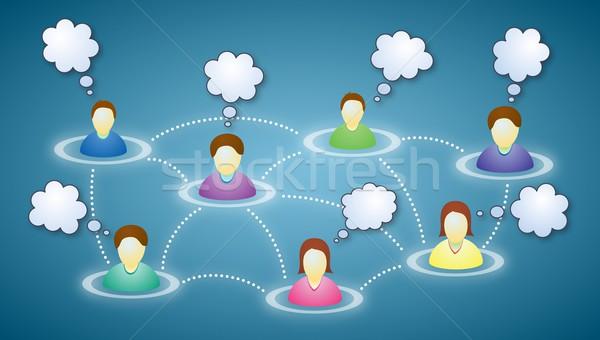 Tekst chmury ilustracja twarze Internetu Zdjęcia stock © icefront