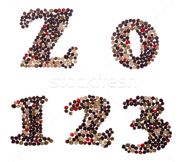 Numbers made of mixed peppercorns Stock photo © icefront