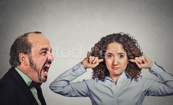 Angry mature man screaming at his young wife woman  Stock photo © ichiosea