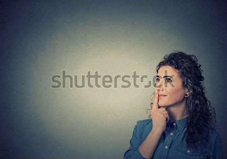 Kobieta żółty sukienka myślenia patrząc zamyślony Zdjęcia stock © ichiosea