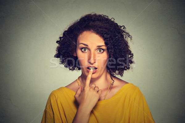 surprised girl funny looking woman with disbelief speechless face expression  Stock photo © ichiosea