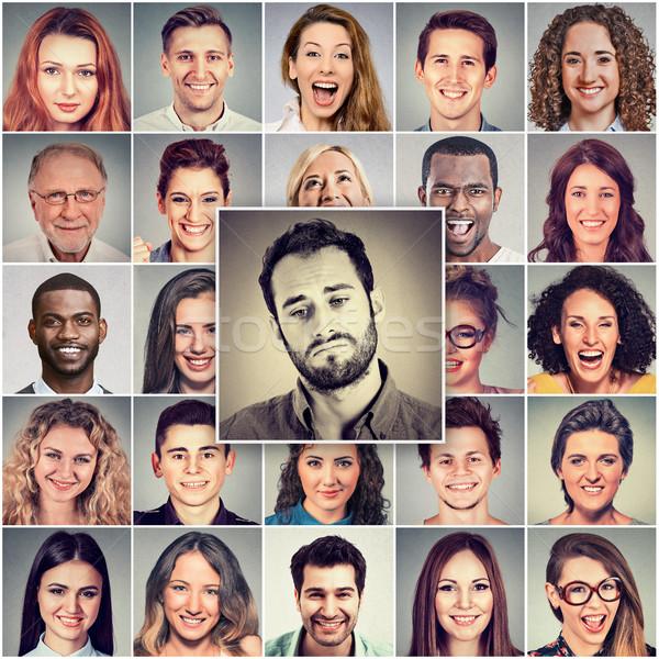 Triste uomo gruppo persone felici ragazza faccia Foto d'archivio © ichiosea