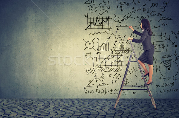 Businesswoman standing on ladder and drawing business plan ideas Stock photo © ichiosea