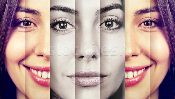 Happy young woman hiding sad emotions  Stock photo © ichiosea