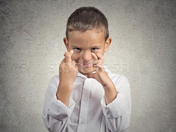 çocuk parmaklar genç umutlu Stok fotoğraf © ichiosea