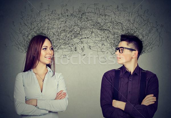 Homme femme regarder autre beaucoup pensées Photo stock © ichiosea
