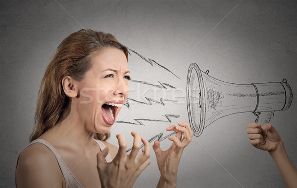 hysterical woman shouting against someones megaphone Stock photo © ichiosea