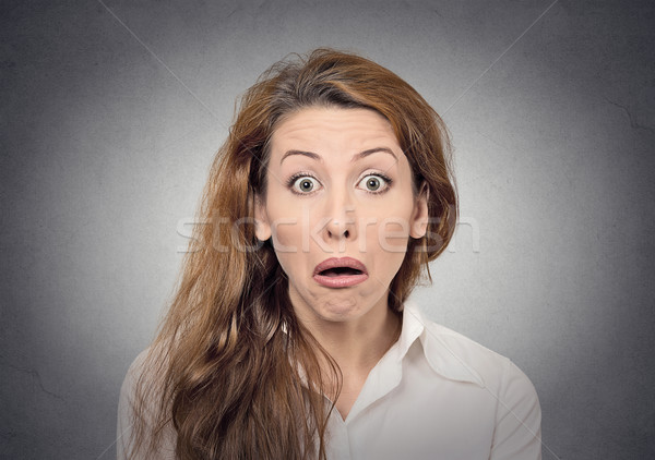Sorpreso faccia buffa ragazza occhi studente sfondo Foto d'archivio © ichiosea