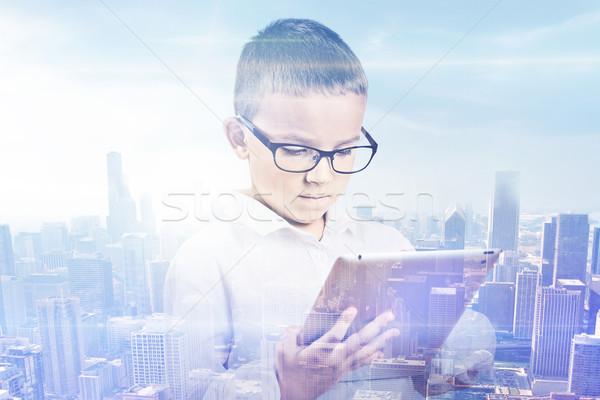 Podwoić ekspozycja chłopca miasta student cyfrowe Zdjęcia stock © ichiosea