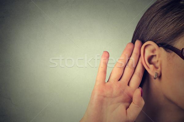 Nő kéz fül óvatosan izolált szürke Stock fotó © ichiosea