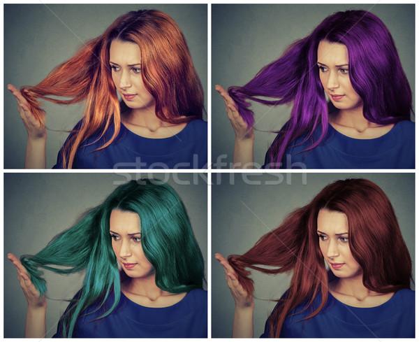 Gyönyörű fiatal nő különböző hajstílusok hajszín nő Stock fotó © ichiosea