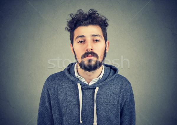 Tembel genç gri genç gündelik adam Stok fotoğraf © ichiosea