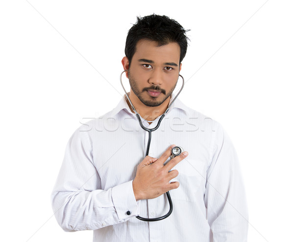 man listening to his own heart beat Stock photo © ichiosea
