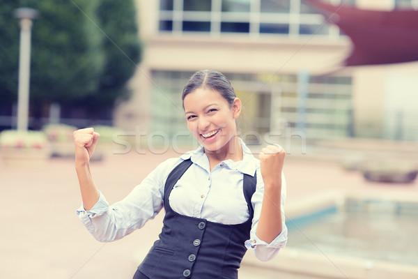 Сток-фото: успешный · молодые · деловой · женщины · портрет · победа · счастливым