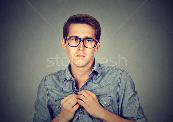 Nervous introvert man feels awkward Stock photo © ichiosea