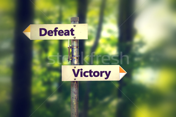 Signpost in a park with arrows pointing in opposite directions Victory and Defeat  Stock photo © ichiosea