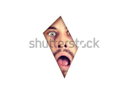 Bać człowiek patrząc luka biały Zdjęcia stock © ichiosea
