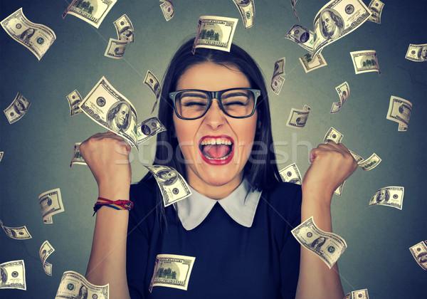 Mujer extático éxito dinero lluvia retrato Foto stock © ichiosea