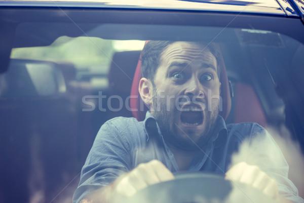 Férfi vezetés autó megrémült forgalom baleset Stock fotó © ichiosea