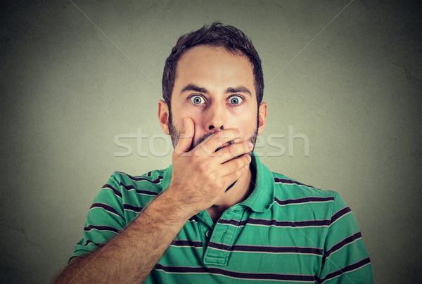 Ijedt férfi száj portré fiatal siker Stock fotó © ichiosea