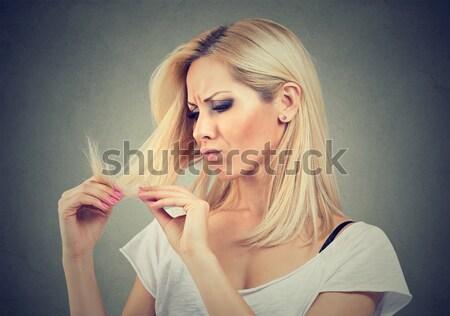 üzgün hayal kırıklığına uğramış genç kadın şaşırmış saç mutsuz Stok fotoğraf © ichiosea