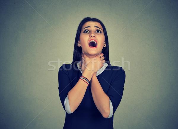 Vrouw astma aanval adem lijden problemen Stockfoto © ichiosea