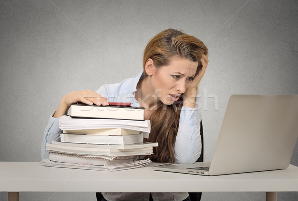 girl stressed annoyed tired by studying to hard Stock photo © ichiosea