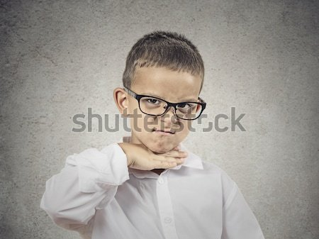 Angry bossy boy pointing finger at someone Stock photo © ichiosea