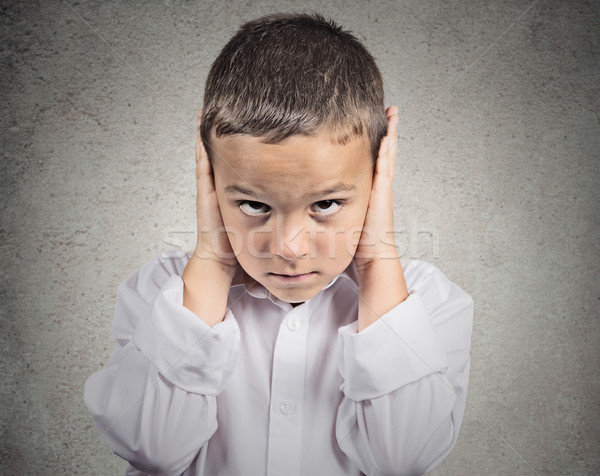 Boy Covers his Ears, hear no evil concept Stock photo © ichiosea