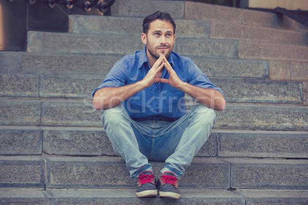 álmodozás férfi ül kint lépcső bejárat Stock fotó © ichiosea