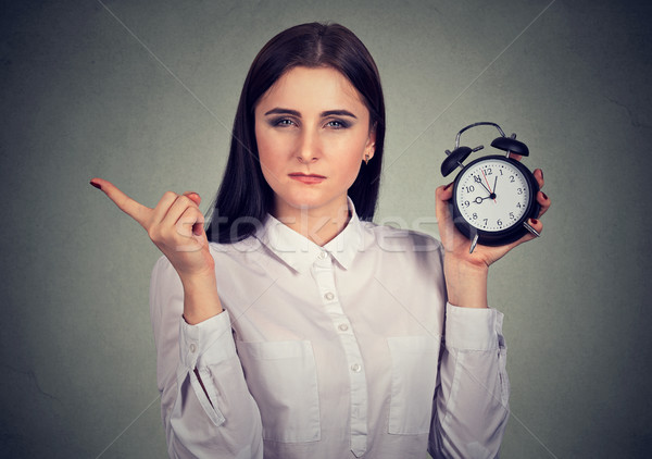 strict woman with alarm clock Stock photo © ichiosea