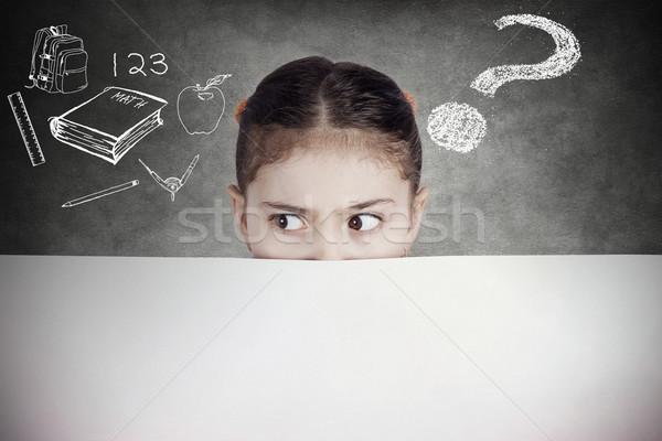 Portre meraklı şüpheli genç kız öğrenci okul Stok fotoğraf © ichiosea