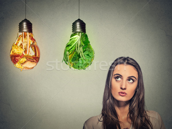 Bela mulher pensando dieta escolha Foto stock © ichiosea