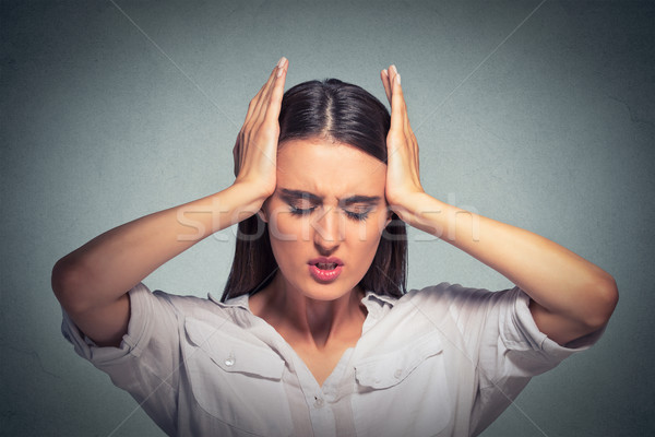 Stressed sad woman, having migraine, tension headache  Stock photo © ichiosea