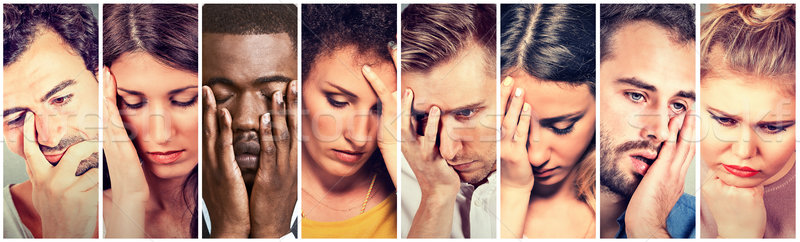 Collage group of sad depressed people. Unhappy men women  Stock photo © ichiosea