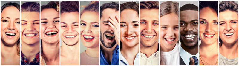 Laughing people. Group happy men, women, children  Stock photo © ichiosea