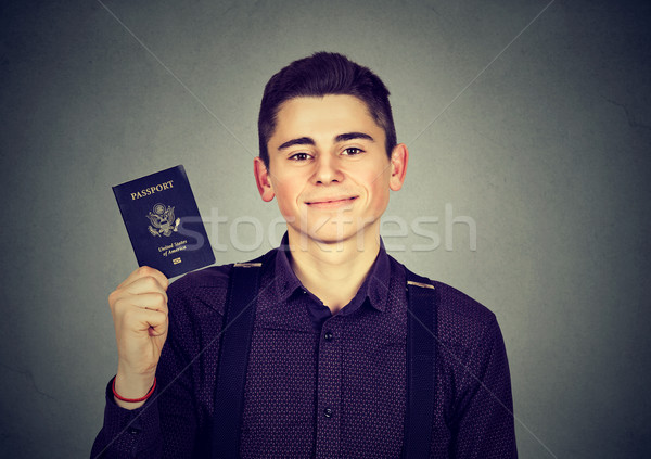 Portret knap jonge gelukkig man USA Stockfoto © ichiosea
