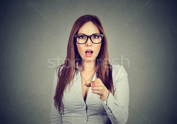 shocked business woman looking surprised pointing finger at camera  Stock photo © ichiosea