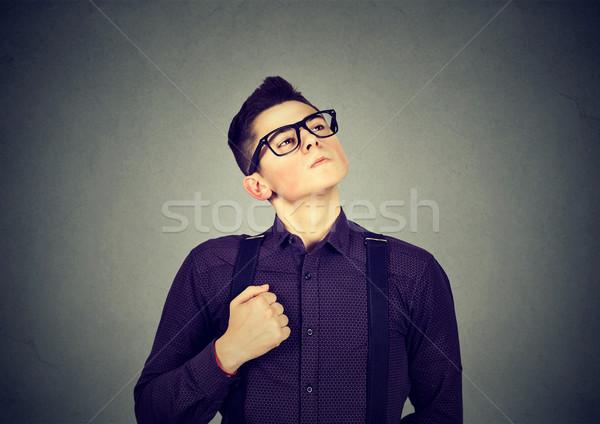 Moço cara homem óculos menino sucesso Foto stock © ichiosea