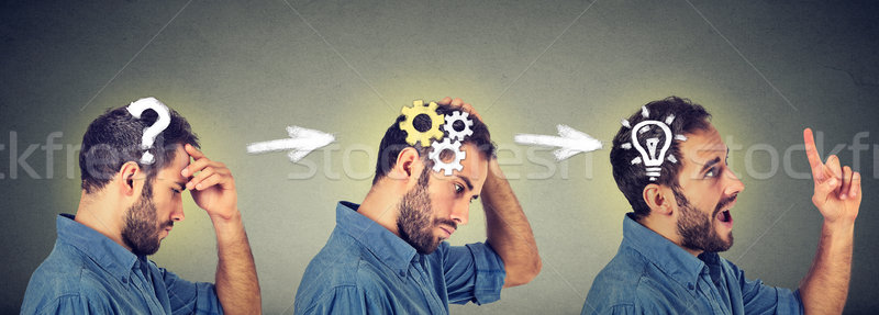 thoughtful, finding solution young man with question gear mechanism, light bulb signs. Stock photo © ichiosea