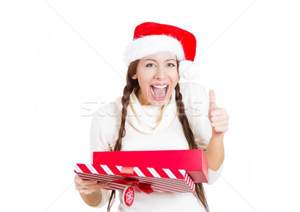 Stockfoto: Gelukkig · opgewonden · jonge · mooie · christmas · vrouw