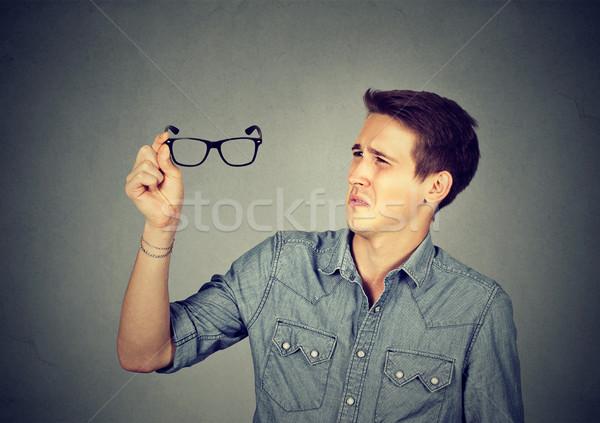 男 眼鏡 視力 問題 孤立した グレー ストックフォト © ichiosea