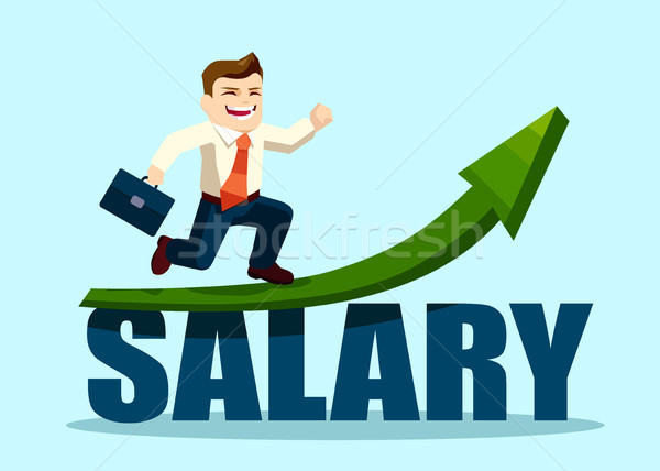 successful businessman running on salary arrow graph going up  Stock photo © ichiosea